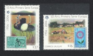 Uruguay Ostriches Birds Bees 50th Anniversary of Europa CEPT 2v SG#2964-2965