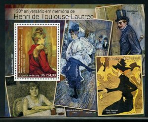 SAO TOME 2021 120th MEMORIAL OF HENRI TOULOUSE-LAUTREC PAINTINGS S/S MINT NH