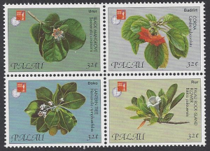 Palau #420a-d mint, set flowers issued for Hong Kong 97