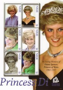 Niue 2007 Sc#822  Princess Diana Tribute Sheetlet of 6 stamps MNH