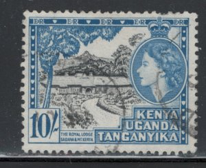 Kenya, Uganda, and Tanganyika 1954 Queen Elizabeth II 10sh Scott # 116 Used