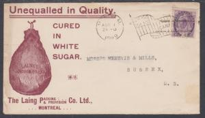 Canada Sc 76 on 1899 Advertising Cover for Sugar Cured Hams, Laing Packing Co.