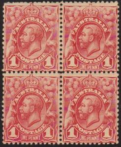 AUSTRALIA 1913 GV 1d pale red SG17c fresh mint/MNH block of 4...............5303