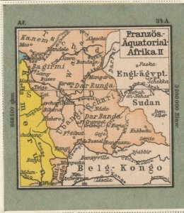 Germany Schaubek Poster Stamp FRENCH EQUATORIAL AFRICA II Map A6091
