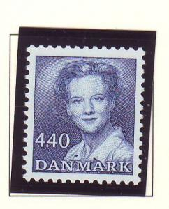 Denmark  Scott 803 1989 4.4 kr deep blue  Queen Margrethe stamp mint NH