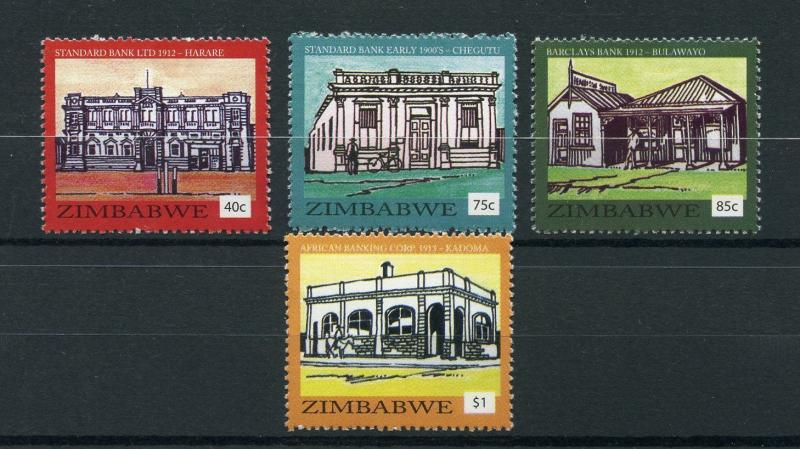 Zimbabwe 2016 MNH Historic Bank Buildings 4v Set Architecture Stamps