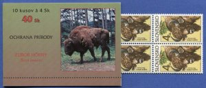 R792 -  SLOVAKIA 1996 4sk Nature Protection, BISON, BUFFALO, Complete Booklet