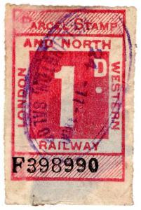 (I.B) London & North Western Railway : Parcel Stamp 1d (Wellington)