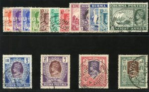 Burma 1938 KGVI Definitive Issue set complete VF used. SG 18b-33. Sc 18A-33.