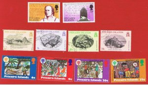 Pitcairn Islands #182-191  VF used  3 sets   Free S/H