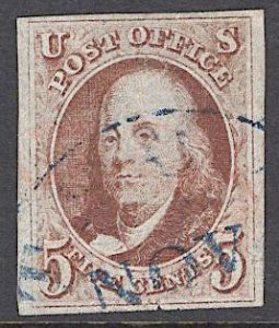 US Stamp #1 Red Brown USED w/ + $125 Blue Town Cancel SSCV $475
