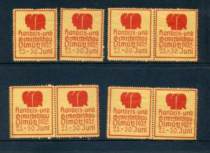 8 VINTAGE 1935 TRADE & MANAGEMENT EXPO POSTER STAMPS (L783) BERLIN GERMANY