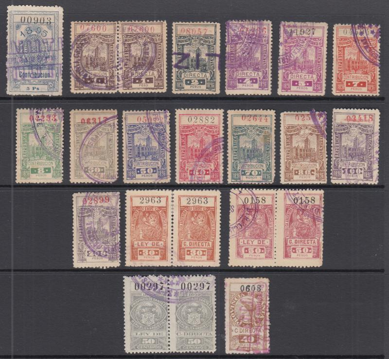 Argentina, Santa Fé, Forbin 7/91 used 1859-1899 Direct Contribution Fiscals (17)