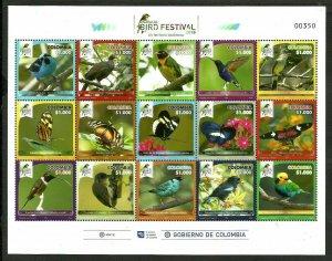 Columbia Colombia 2018 butterflies birds nice klb MNH