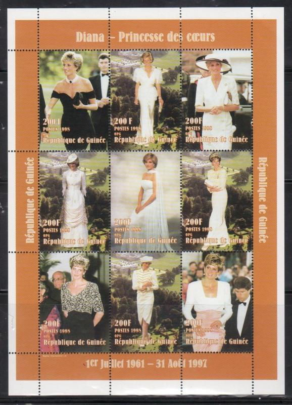 Guinea MNH S/S Princess Diana In Evening Wear 1998