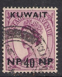 Kuwait 1957 - 56 QE2  40 Np ON 6d Purple SG 128.used stamp ( B708 )