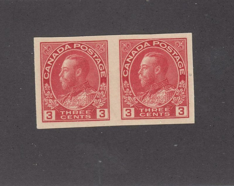 CANADA # 138 VF-MNH KGV 3cts IMPERF PAIR CAT VALUE $100