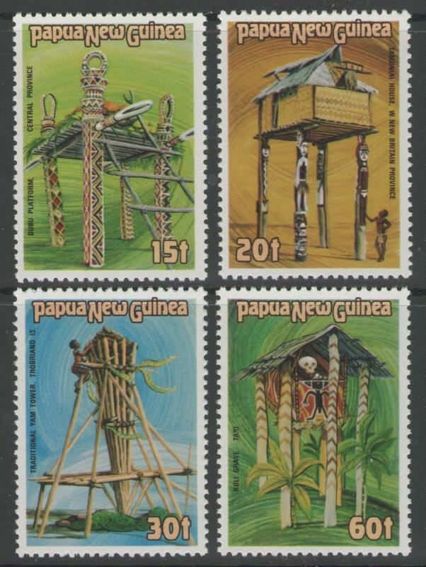 PAPUA NEW GUINEA SG496/9 1985 CEREMONIAL STRUCTURES MNH