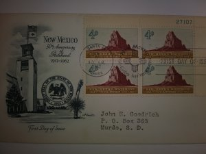 SCOTT #1191 FIRST DAY OF ISSUE NEW MEXICO ISSUE PLATE BLOCK ART MASTER CACHET