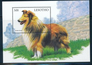 Lesotho - Colorful Dog Sheet MNH Rough Collie (1999)
