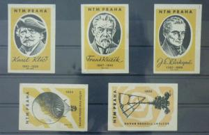 Match Box Labels ! industry science scientist machines baloon prague GN25