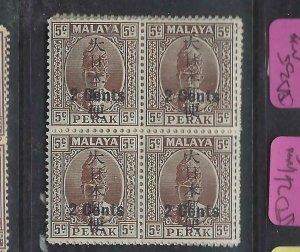 MALAYA JAPANESE OCC  PERAK (P2404B) KANJI 2C/5C  SG J274  BL OF 4       MNH