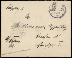 Germany 1907 Warmbad SW Africa DSWA Herero Feldpost Cover 74207