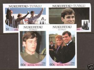 Nukufetau Sc 56v-59v MNH. 1986 Royal Wedding pairs 4;9