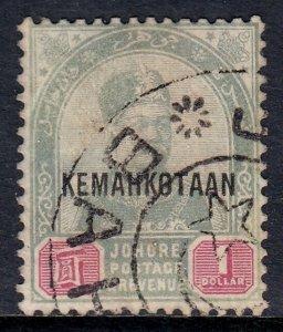 MALAYA (JOHORE) — SCOTT 36 (SG 38) — 1896 $1 KEMAHKOTAAN OVPT  — USED — SCV $125