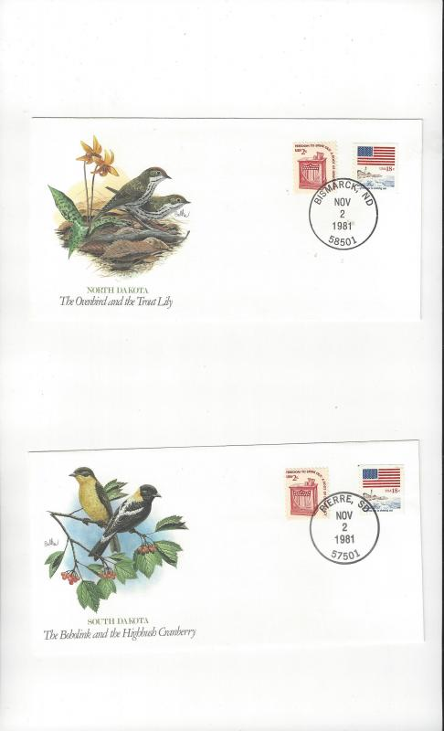 United States Fleetwood Songbirds of the 50 States. Covers. North & South Dakota