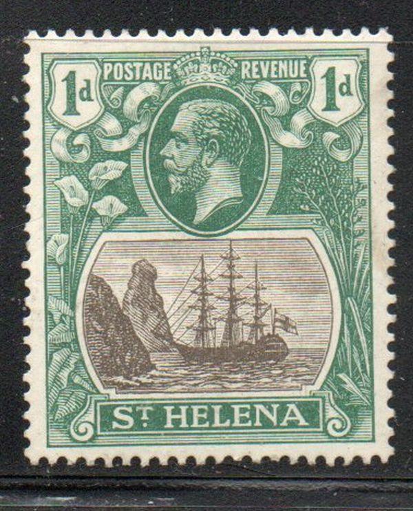 St Helena Sc 80 1922 1 d GV & ship stamp mint