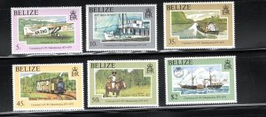 Belize SC410-415 Centenary UPU-Transp.Airplanes-Ships-Intern.MailServic-Railroad