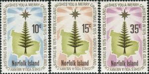 Norfolk Island 1975 SG165-167 Christmas star and pine set MNH