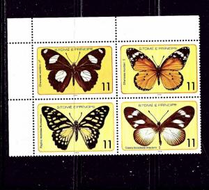 St Thomas and Prince Is 505 MNH 1979 Butterflies block of 4