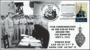 20-172, 2020, USS Missouri, Event Cover, Pictorial Postmark, WW II Surrender,