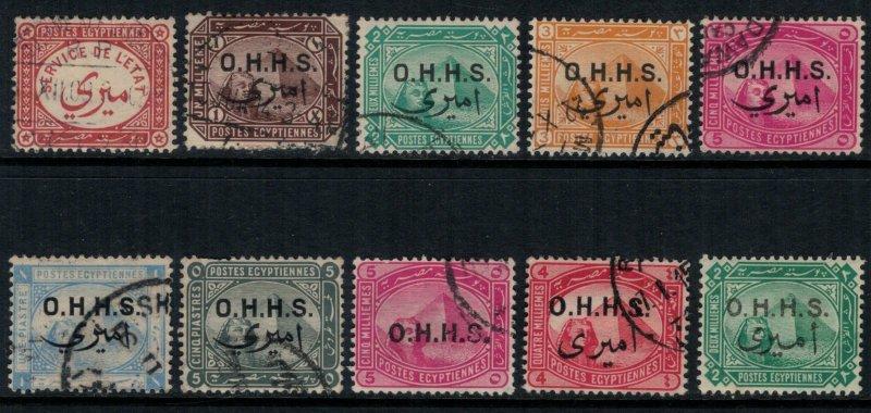 Egypt O1-8,10,14  CV $20.30