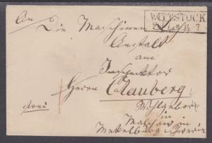 Germany, 1867 Stampless Cover, WITTSTOCK Boxed Cancel