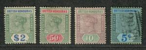 British Honduras Sc#52-54, 56 M+U/H/F-VF, Partial Set, 53 No Gum, Cv. $369.50