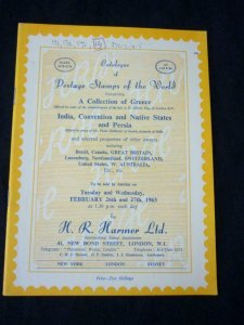 H R HARMER AUCTION CATALOGUE 1963 INDIA CONVENTION & NATIVE STATES & PERSIA ETC