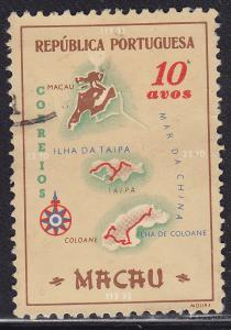 Macao 386 USED 1956 Macao Colony Map