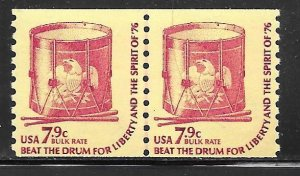 USA 1615: 7.9c Drum, line pair, MNH, F-VF