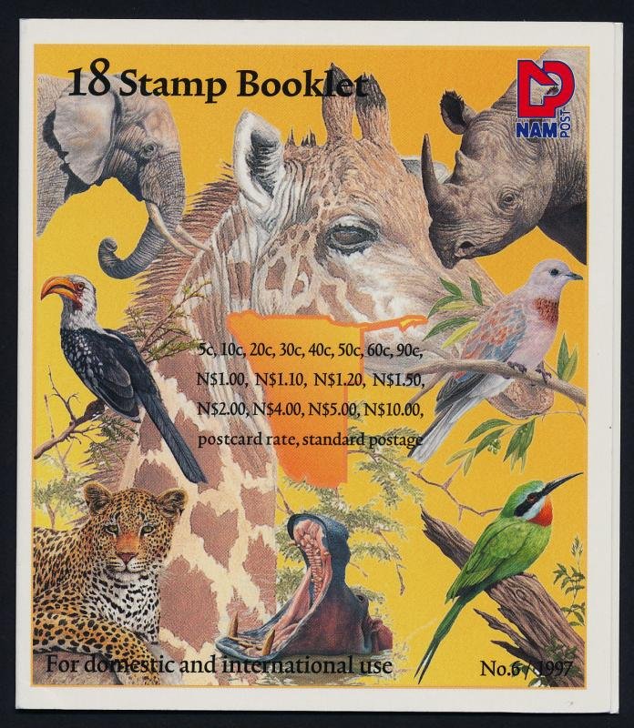 Namibia 870a Booklet MNH Birds, Flowers, Elephant, Lion, Rhino, Cheetah, Hippo