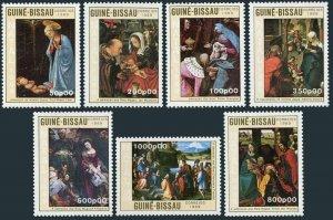 Guinea Bissau 865-871,MNH.Michel 1104-1110. Christmas,1989.Durer,Rubens,Brueghel