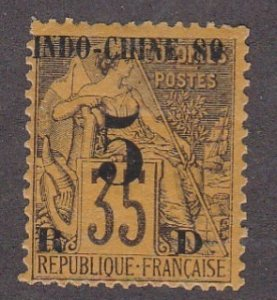 Indo-China # 1, French Stamp Surcharged & Overprinted, Hinged, 1/3 Cat.