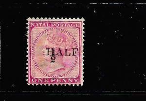 NATAL  1877  1/2d on 1d    QV   MH    SG 87