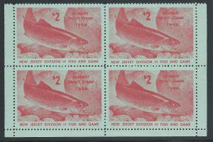 $2 Resident New Jersey Trout Stamp 1968 #31, Block of Fou...