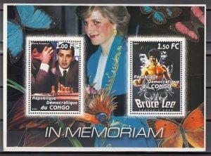 Princess Diana-Bruce Lee-Gary Kasparov CHESS -Butterflies-Parrot S/S Congo