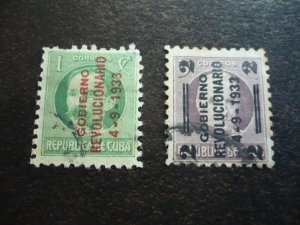 Stamps - Cuba - Scott# 317-318 - Used Set of 2 Stamps Overprinted
