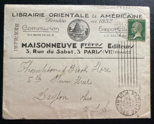 1930 Paris France Occidental Library Advertising Cover To Dayton OH USA