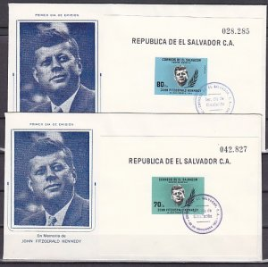Salvador, Scott cat. 750, C214. Pres. Kennedy 2 s/sheets. 2 First day covers. ^